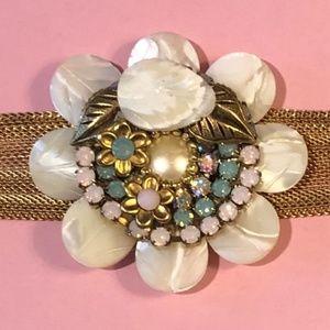 Vintage Lenora Dame Carved Mother of Pearl Bracele